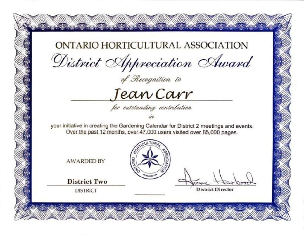 Ontario Horticultural Association Award to Jean Carr for 2020
